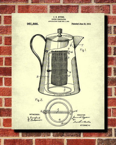 Coffee Percolator Patent Print Kitchen Poster Cafe Blueprint - OnTrendAndFab