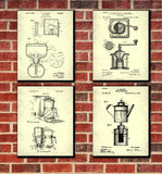 Cafe Patent Prints Coffee Wall Art Kitchen Posters Set 4