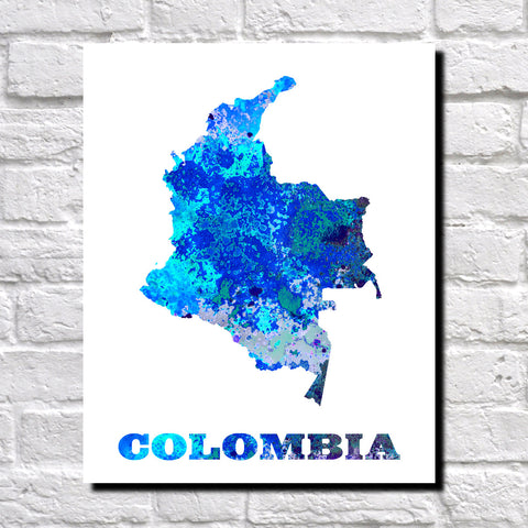 Colombia Map Print Outline Wall Map of Colombia
