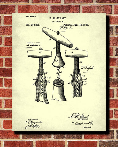 Corkscrew Patent Print Cafe Poster Wine Bar Blueprint - OnTrendAndFab