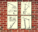 Crane Patent Prints Set 4 Construction Machinery Posters
