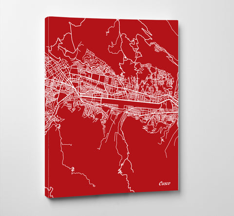 Cusco, Peru Street Map Print Feature Wall Art Poster 7179P