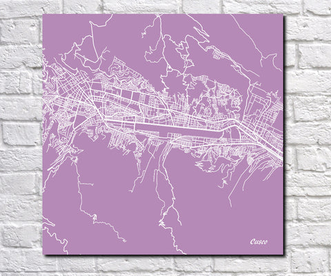 Cusco, Peru City Street Map Print Custom Wall Map 7179S