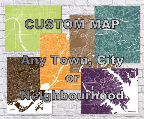 Custom City Street Map Print Any Town or, Neighbourhood Worldwide