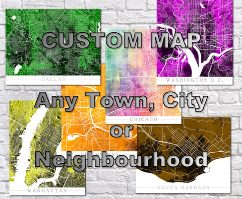 Custom City Street Map Print Any Town, Neighbourhood Worldwide