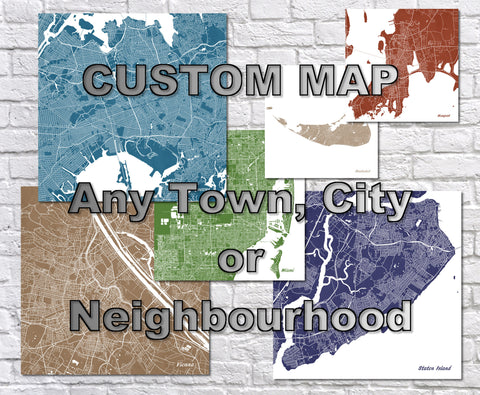 Custom City Street Map Square Print Any Town Neighbourhood Worldwide