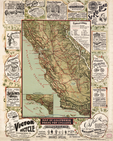 California State Map Cycling Print Vintage Poster Old Map as Art