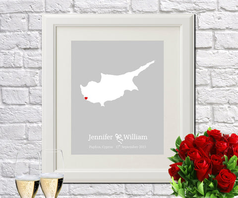Cyprus Custom Wedding Engagement Art Print - OnTrendAndFab