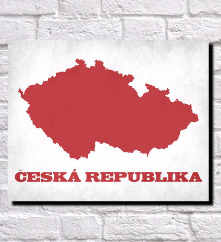 Czech Republic Map Print Outline Wall Map of Czech Republic