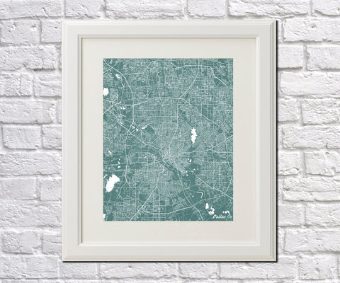 Dallas City Street Map Print Feature Wall Art Poster