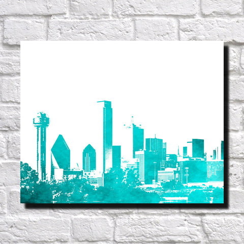Dallas City Skyline Print Landscape Poster Feature Wall Art