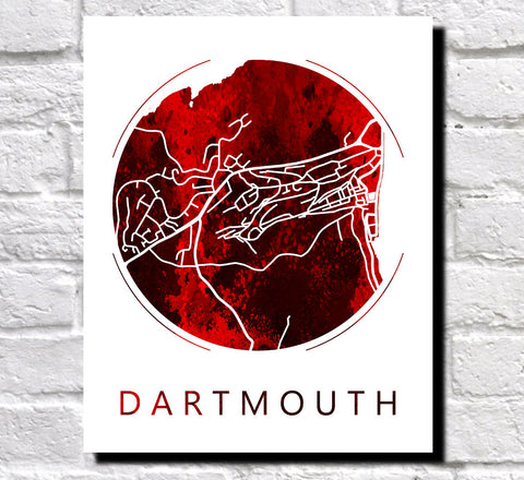 Dartmouth Street Map Custom Wall Map Poster