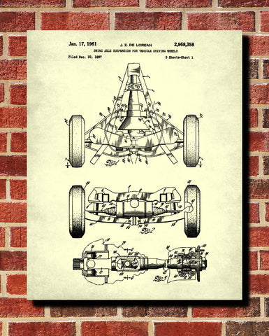 De Lorean Blueprint Automotive Car Axle Patent Print