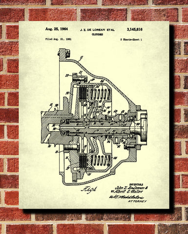 De Lorean Blueprint Car Clutch Patent Print