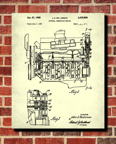 De Lorean Blueprint Automotive Car Engine Patent Print