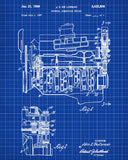 De Lorean Blueprint Automotive Car Engine Patent Print - OnTrendAndFab
