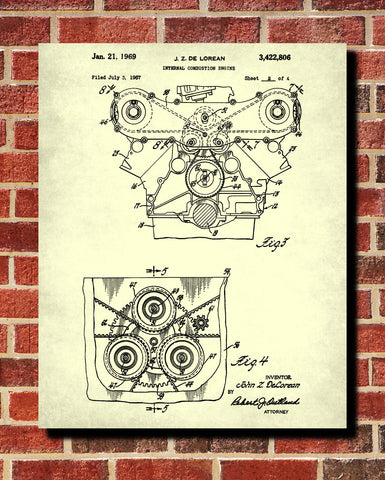 De Lorean Blueprint Car Engine Automotive Patent Print