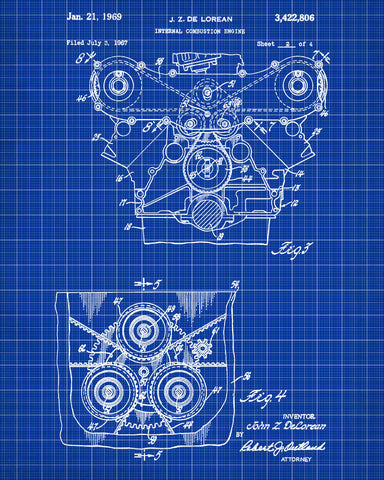 De Lorean Blueprint Car Engine Automotive Patent Print – OnTrendAndFab