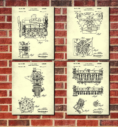DeLorean Engine Blueprints Set 4 Patent Prints - OnTrendAndFab