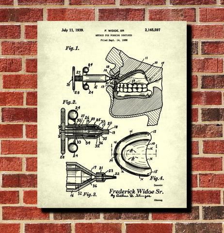 Dentures Patent Print Dentist Office Decor