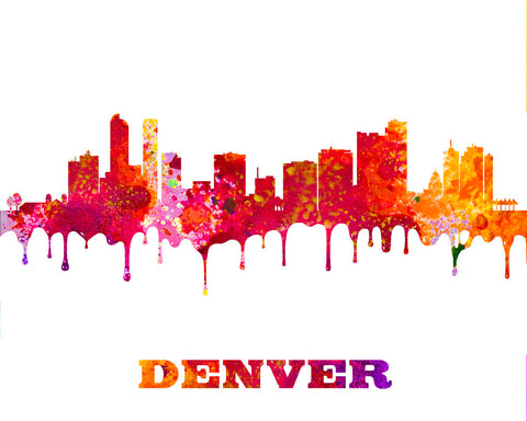 Denver City Skyline Print Wall Art Poster Colorado USA - OnTrendAndFab