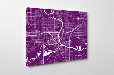 Des Moines City Street Map Print Modern Feature Wall Art Poster