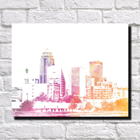 Des Moines City Skyline Print Landscape Poster Feature Wall Art