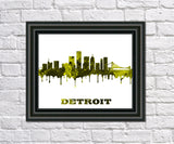 Detroit City Skyline Print Wall Art Poster Michigan USA - OnTrendAndFab