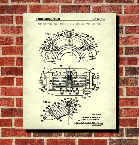 Disc Brake Patent Print Garage Blueprint Workshop Poster