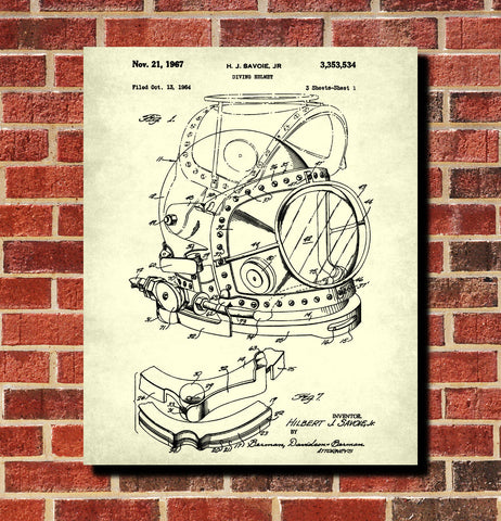 Diving Helmet Patent Print Dive Blueprint Marine Poster