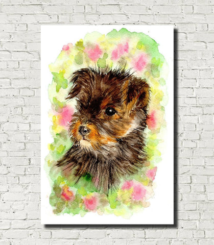 Yorkshire Terrier Puppy Watercolour Print, Andi Lucas Wildlife Art