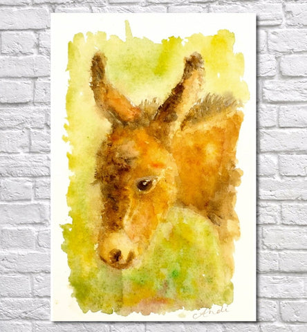 Donkey Watercolour Print, Andi Lucas Wildlife Art