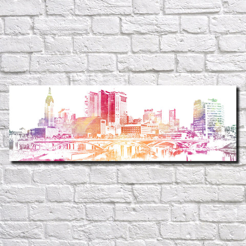 Columbus Ohio Poster Panorama City Street Scene Art Print 5357