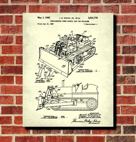 Bulldozer Patent Print Construction Blueprint Gold Rush Poster