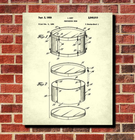Drum Blueprint Art Drumming Patent Print Music Poster