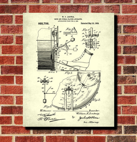 Drum Kick Blueprint Drumming Patent Print Music Poster