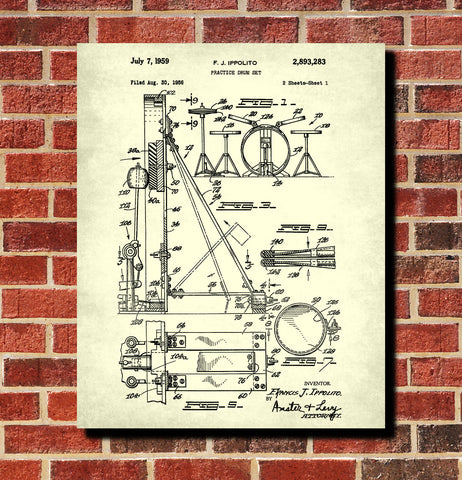 Drum Set Blueprint Drumming Patent Print Music Poster