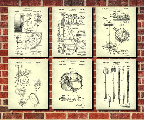 Drumming Patent Prints Set 6 Drums Blueprint Drummer Poster