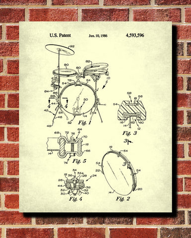 Drum Set Patent Print Drumming Blueprint Music Poster - OnTrendAndFab