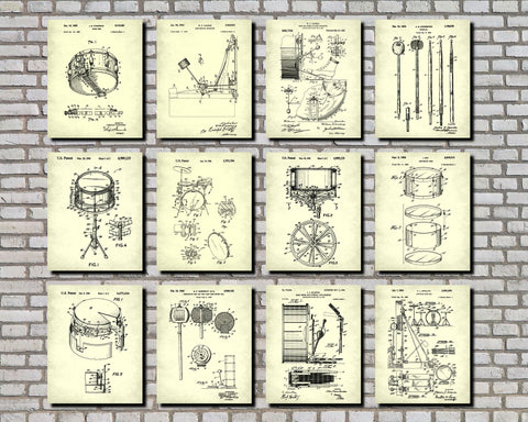 Drum Patent Prints Set of 12 Drumming Blueprints Music Posters