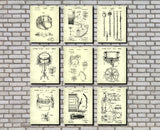 Drums Patent Prints Set of 9 Drum Blueprints Music Posters