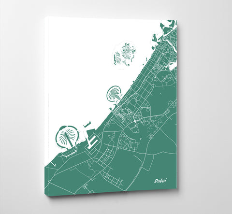 Dubai City Street Map Print Feature Wall Art Poster