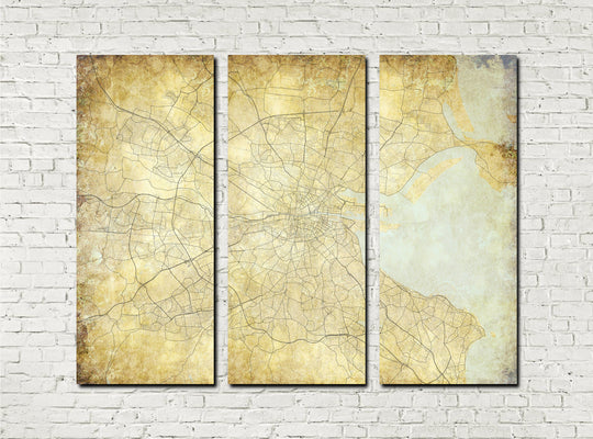 Dublin Street Map 3 Panel Canvas Wall Map