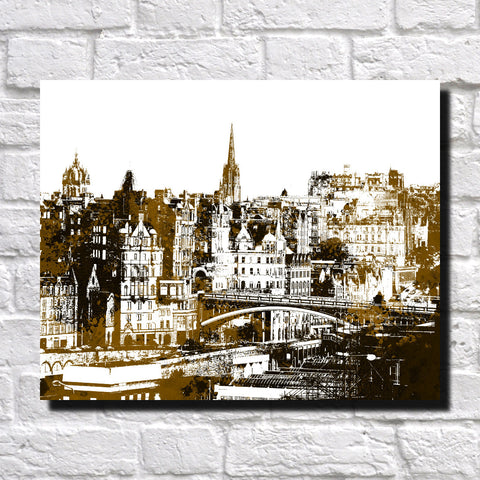 Edinburgh City Skyline Print Landscape Poster Feature Wall Art