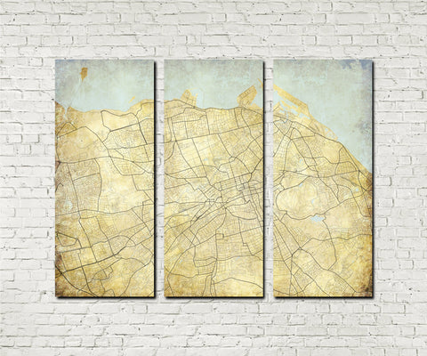 Edinburgh Street Map 3 Panel Canvas Wall Map