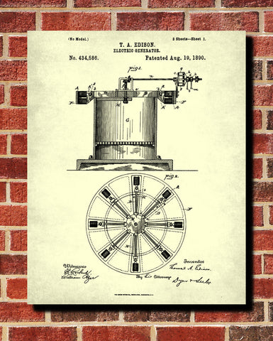 Edison Patent Print Electrical Blueprint Vintage Invention Poster - OnTrendAndFab