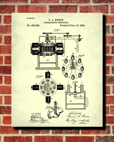 Edison Patent Print Vintage Invention Poster Electrical Blueprint - OnTrendAndFab