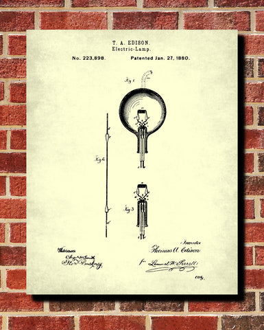 Edison Blueprint Vintage Invention Poster Electrical Patent Print - OnTrendAndFab