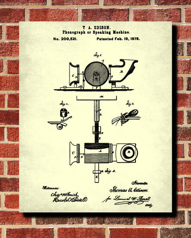 Edison Blueprint Vintage Invention Poster Phonograph Patent Print - OnTrendAndFab
