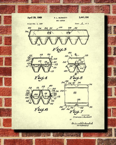 Egg Carton Patent Print Box Blueprint Kitchen Poster